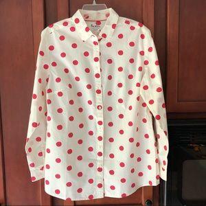 Boden Classic Shirt - Pink Polka Dot - NWT, Sz 12